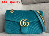 Gucci GG Marmont Velvet Shoulder Bag in Petrol Blue Velvet Replica