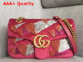 Gucci GG Marmont Velvet Shoulder Bag in Pink with Embroidered Sequins and Crystals Replica