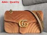 Gucci GG Marmont Velvet Shoulder Bag in Taupe Velvet Replica