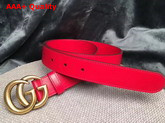 Gucci Leather Belt Leather with Double G Buckle Red Calfskin Replica