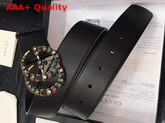 Gucci Leather Belt with Crystal Double G Buckle Black Leather Replica