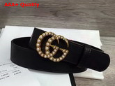 Gucci Leather Belt with Pearl Double G Buckle Black Replica