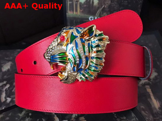 Gucci Leather Belt with Tiger Head Red Leather Replica