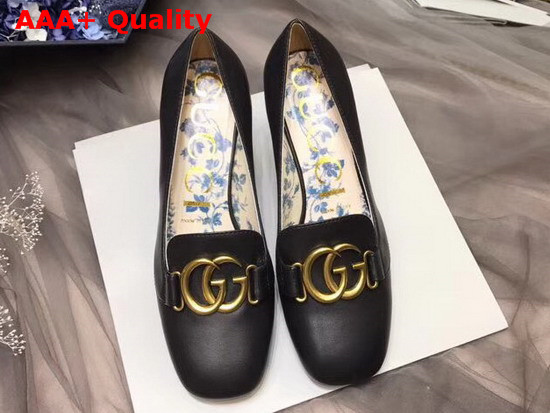 5e7c7636a2c Gucci Leather Mid Heel Pump with Double G Black Leather Replica ...