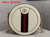 Gucci Ophidia Mini Round Shoulder Bag in White Leather 550618 Replica 550618
