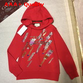 Gucci Oversize Sweatshirt with Gucci Logo and Shooting Stars Red Cotton Replica