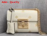 Gucci Padlock Bee Star Small Shoulder Bag White Leather with Gold Bees and Stars Print 432182 Replica 432182