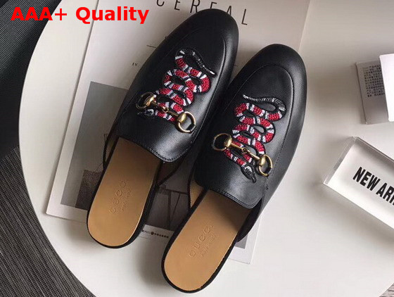 6490d8a9f7b Gucci Princetown Leather Slipper in Black Leather with Embroidered Snake  Replica