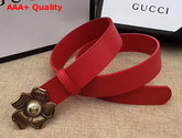 Gucci Red Leather Belt with Metal Flower Replica