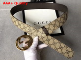 Gucci Reversible GG Supreme Belt GG Supreme and Brown Leather Replica