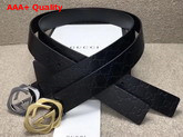 Gucci Signature Leather Belt with Square G Buckle Black Replica