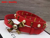 Gucci Studded Leather Belt in Red with Metal Bow Replica