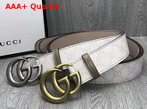 Gucci White GG Supreme Belt with Doulble G Buckle Replica
