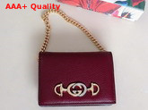 Gucci Zumi Grainy Leather Card Case Wallet in Burgundy 570660 Replica 570660