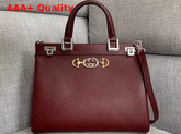 Gucci Zumi Grainy Leather Medium Top Handle Bag in Burgundy Grainy Leather 564714 Replica 564714