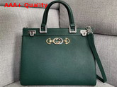 Gucci Zumi Grainy Leather Medium Top Handle Bag in Dark Green Grainy Leather 564714 Replica 564714