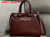 Gucci Zumi Grainy Leather Small Top Handle Bag in Burgundy 569712 Replica 569712