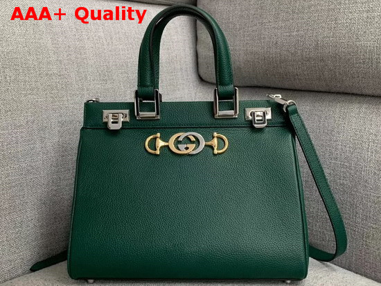 Gucci Zumi Grainy Leather Small Top Handle Bag in Dark Green 569712 Replica 569712