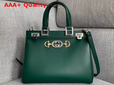 Gucci Zumi Smooth Leather Small Top Handle Bag in Dark Green Smooth Leather 569712 Replica 569712