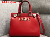 Gucci Zumi Smooth Leather Small Top Handle Bag in Red Replica 569712