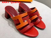 Hermes Amica Sandal Red and Orange Calfskin Replica