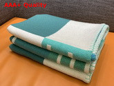 Hermes Avalon Vibration Throw Blanket in Beige and Green Jacquard Woven Wool and Cashmere Replica