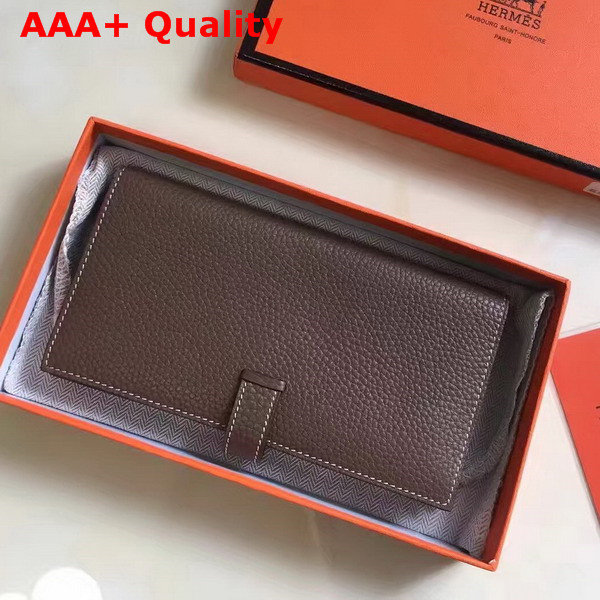 Hermes Bearn Wallet Dark Brown Togo Leather Replica