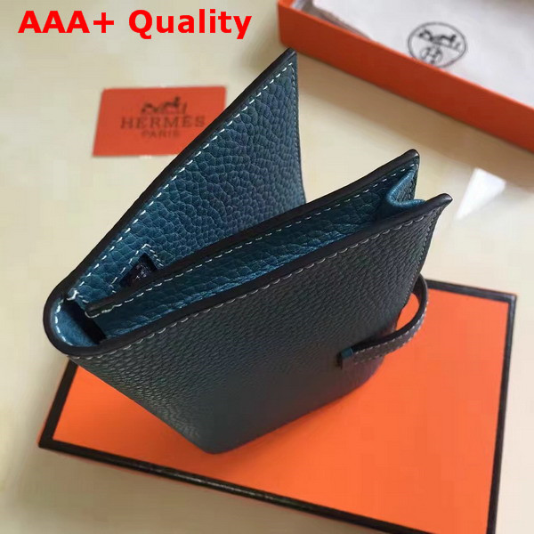 Hermes Bearn Wallet in Blue Togo Leather Replica