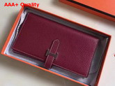 Hermes Bearn Wallet in Burgundy Togo Leather Replica