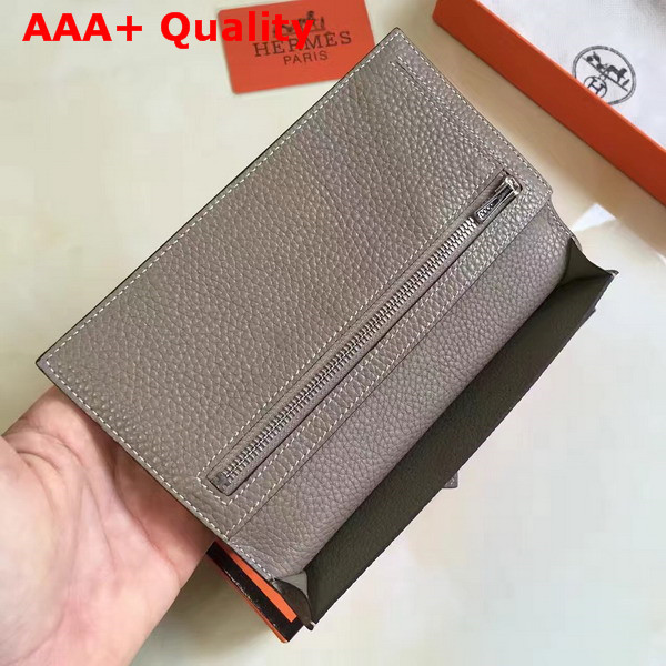 Hermes Bearn Wallet in Grey Togo Leather Replica