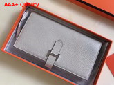 Hermes Bearn Wallet in Light Grey Togo Leather Replica