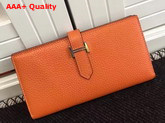 Hermes Bearn Wallet in Orange Togo Leather Replica