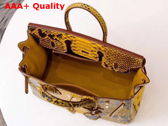 Hermes Birkin 25 Bag Yellow Python Replica