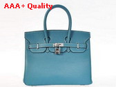 Hermes Birkin 25 in Blue with Silver Replica