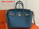 Hermes Birkin 25 with Shoulder Strap Blue Togo Leather Replica