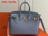 Hermes Birkin 25 with Shoulder Strap Light Blue Togo Leather Replica
