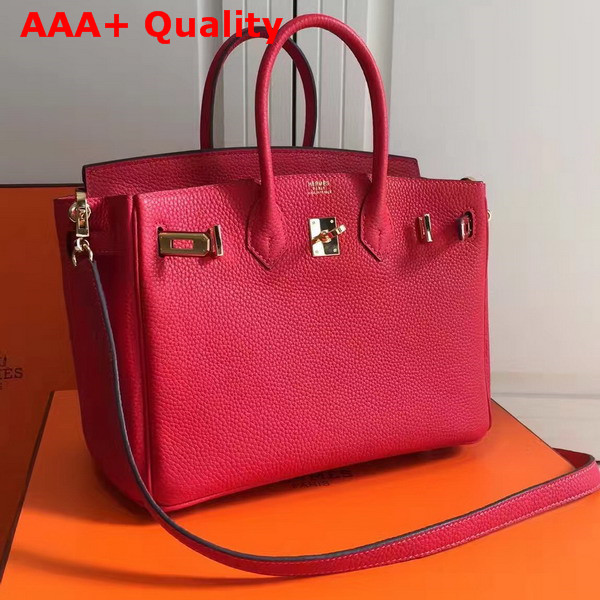 Hermes Birkin 25 with Shoulder Strap Red Togo Leather Replica