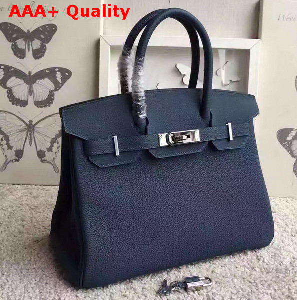 Hermes Birkin 30 Navy Togo Leather Silver Lock Replica