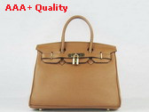 Hermes Fake Hermes Birkin 30 in Tan Leather with Gold Hardware Replica