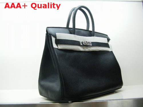 Hermes Birkin 35 Black Togo Leather With Silver Replica