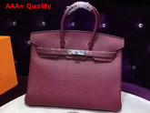 Hermes Birkin 35 Burgundy Togo Leather Silver Hardware Replica
