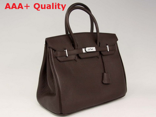 Hermes Birkin 35 Chocolate Togo Leather With Silver Replica