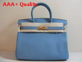 Hermes Birkin 35 Light Blue Togo Leather With Gold Replica