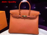 Hermes Birkin 35 Orange Togo Leather Gold Hardware Replica
