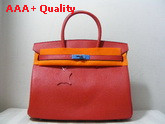 Hermes Birkin 35 Red Togo Leather With Silver Replica