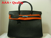 Hermes Birkin 40 In Black Togo Leather With Silver Replica