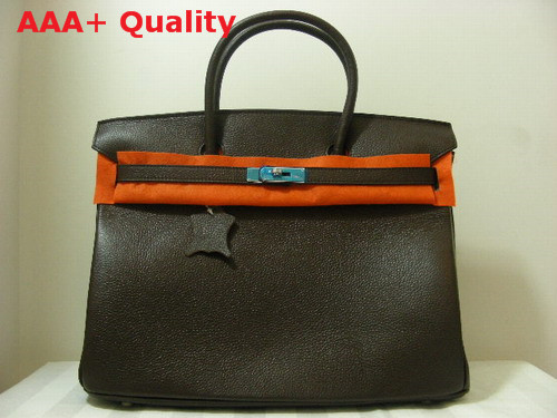 Hermes Birkin 40 In Dark Coffee Togo Leather With Silver Replica