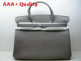 Hermes Birkin 40 In Light Grey Togo Leather With Silver Replica