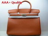 Hermes Fake Hermes Birkin 40 In Orange Togo Leather With Gold Replica