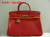 Hermes Birkin 40 In Red Togo Leather With Silver Replica
